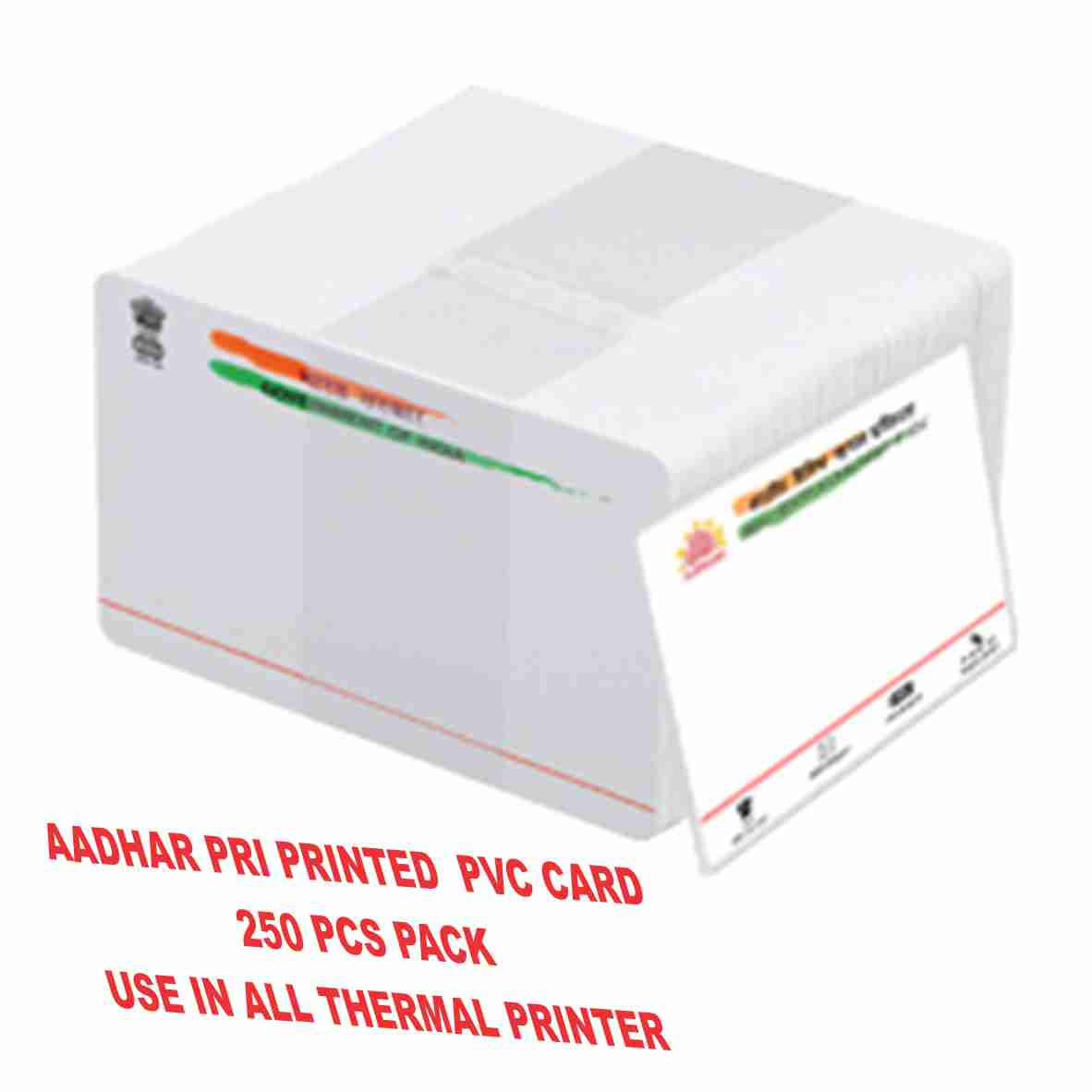 DDS AADHHAR ID Pre - Printed PVC CARD For Thermal Printers 250pcs