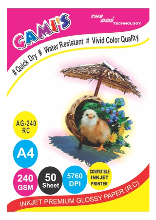GAMI'S 240gsm A4 RC Inkjet Photo Glossy Paper(50 sheets)