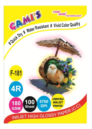 GAMI'S 180gsm 4x6 Inkjet Photo Glossy Paper(100 sheets)