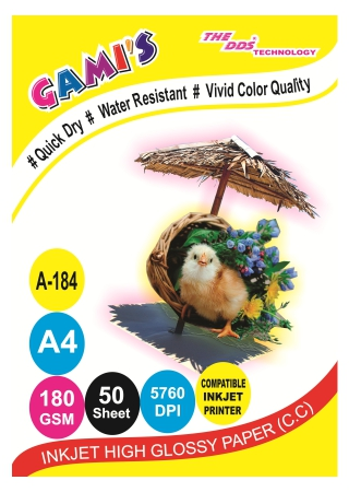 GAMI'S 180gsm A4 Inkjet Photo Glossy Paper(50 sheets)